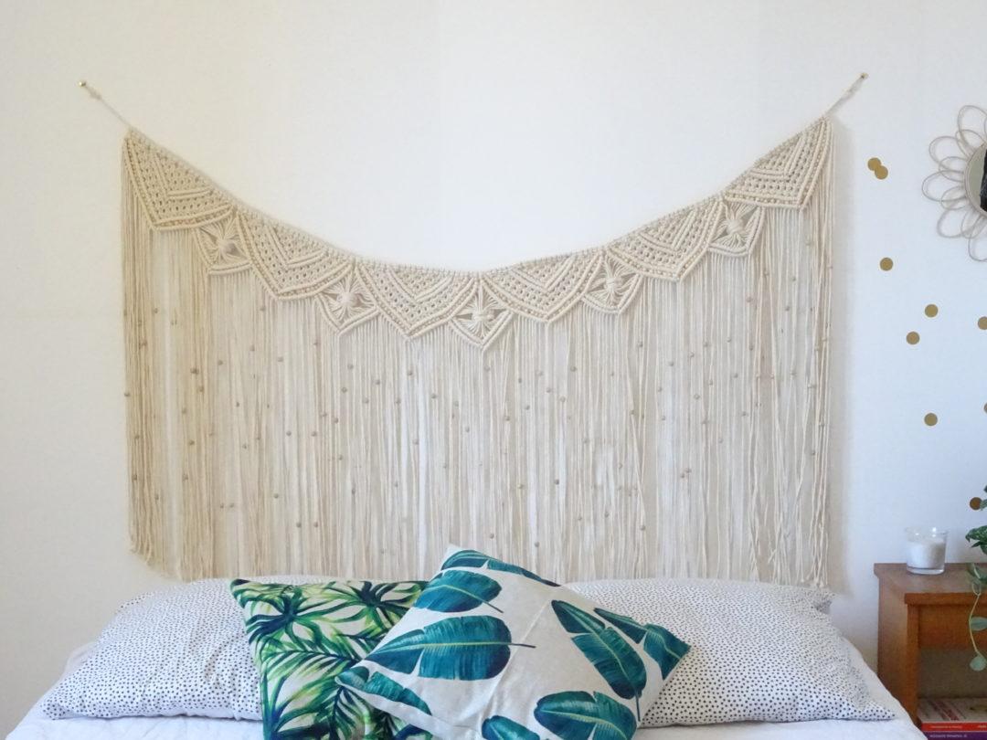 guirlande t te de lit en macram et perles manawea macram. Black Bedroom Furniture Sets. Home Design Ideas