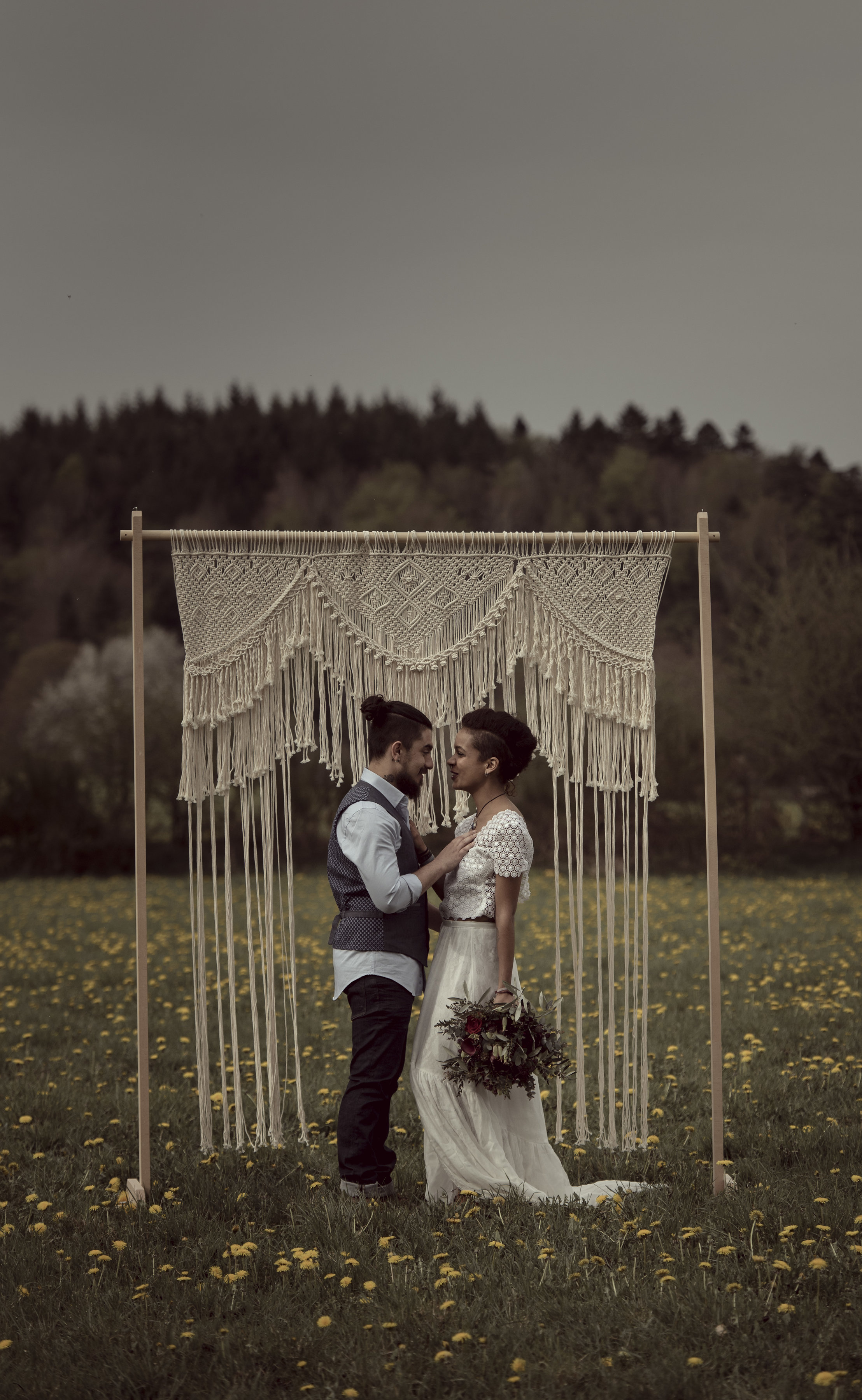 Arche en macramé mariage bohème