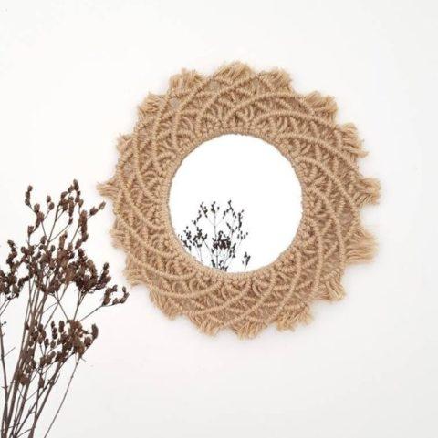 miroir rond en macramé et corde de jute
