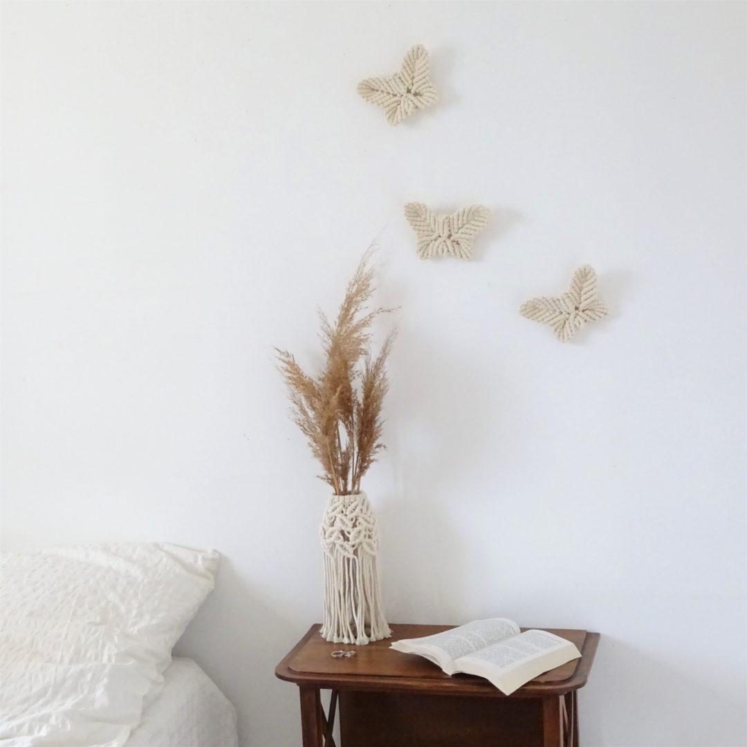 Papillon mural en macram lily manawea macram - Macrame mural ...